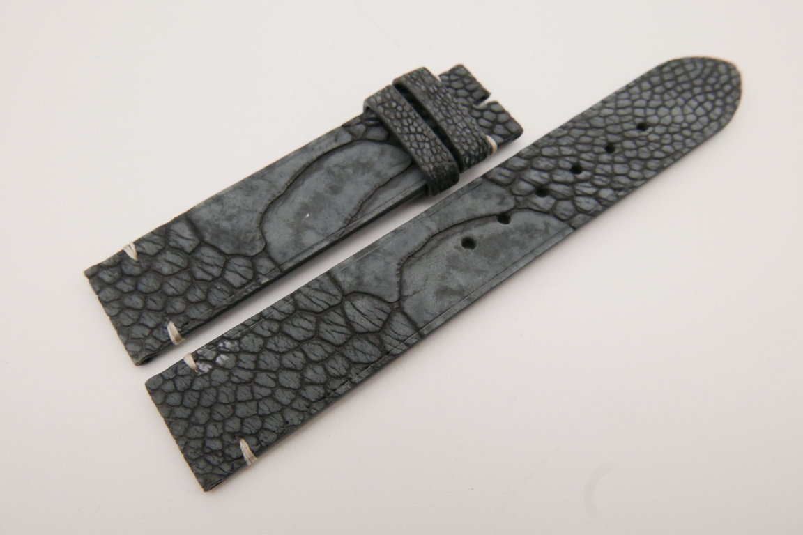 18mm/18mm Gray Genuine OSTRICH Skin Leather Watch Strap #WT3589