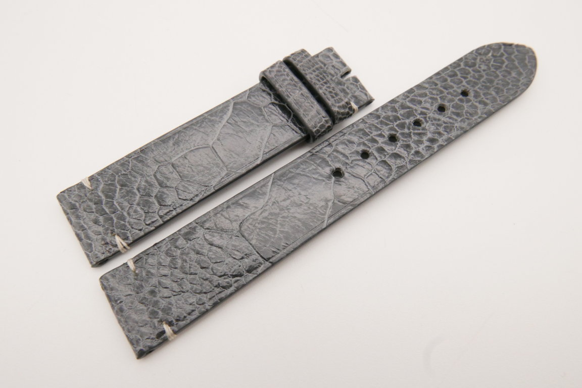18mm/18mm Gray Genuine OSTRICH Skin Leather Watch Strap #WT3590