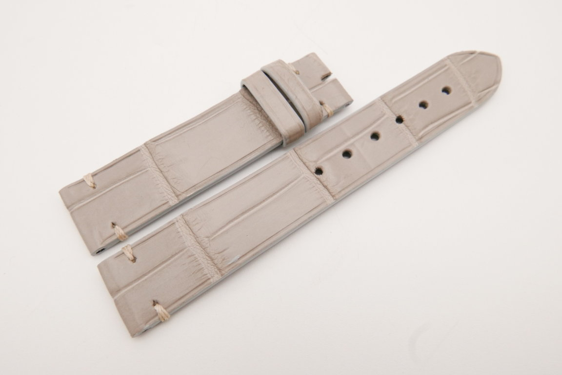 18mm/18mm Light Gray Genuine CROCODILE Skin Leather Watch Strap #WT3605
