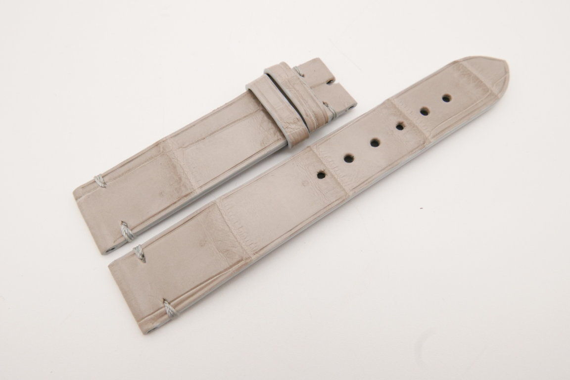 18mm/18mm Light Gray Genuine CROCODILE Skin Leather Watch Strap #WT3606