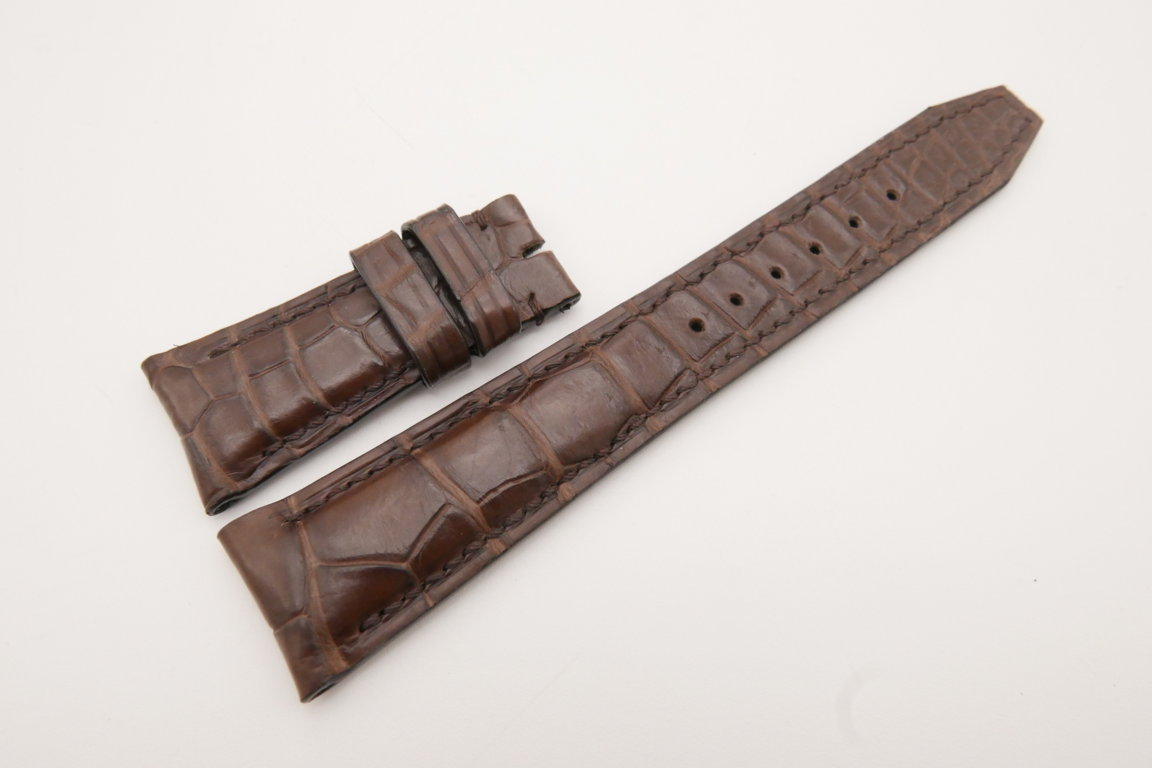23mm/18mm Brown Genuine Crocodile Leather Deployment Strap for IWC Watch #WT3579