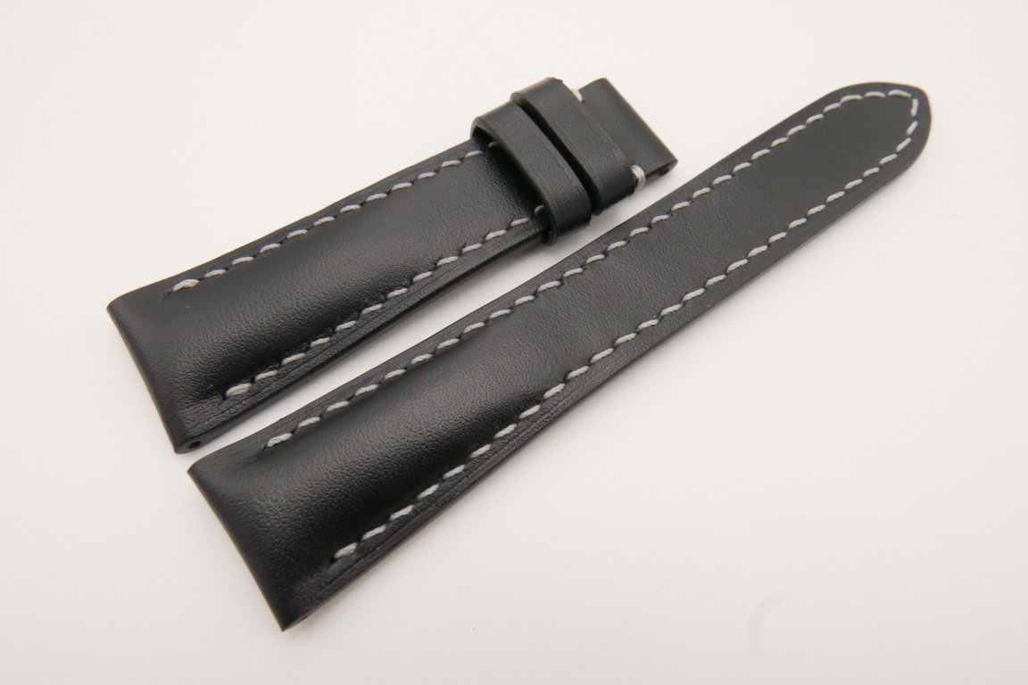 22mm/18mm Black Genuine Italian Calf Skin Leather Watch Strap #WT3699
