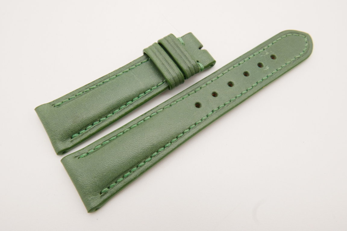 21mm/18mm Green Genuine Vegtan CALF Skin Leather Watch Strap #WT3656