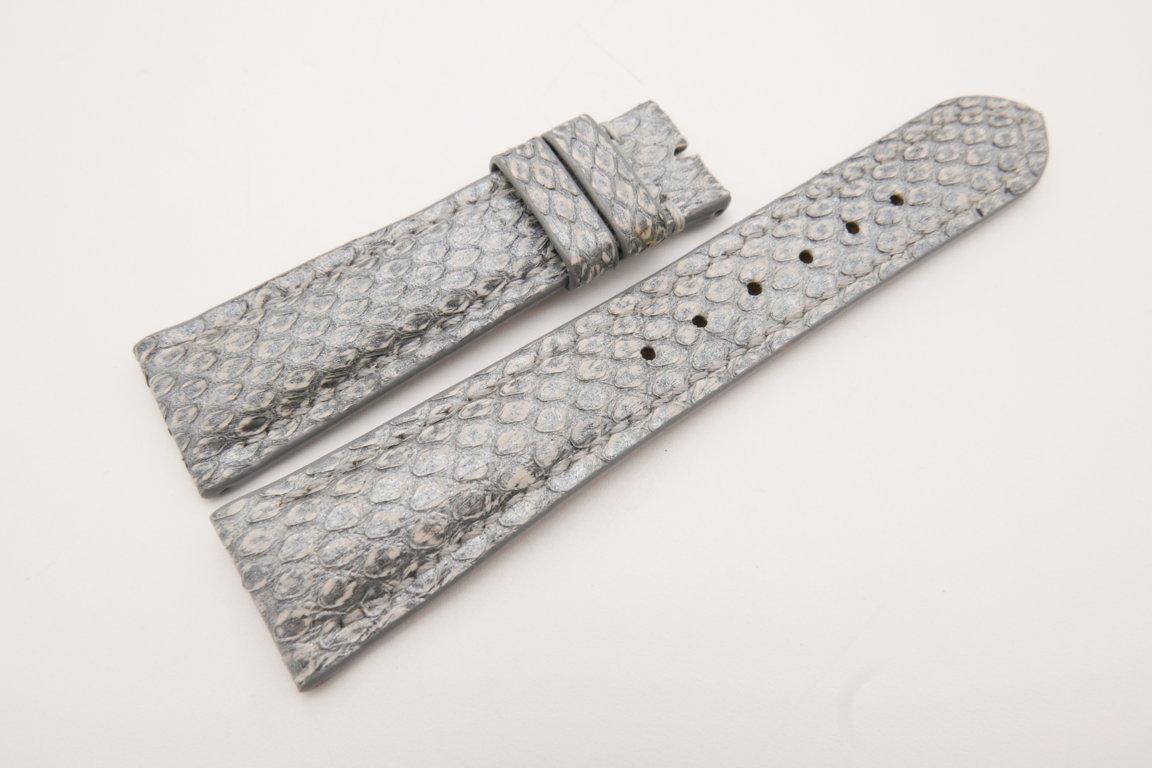 21mm/18mm Silver Genuine PYTHON Skin Leather Watch Strap #WT3663