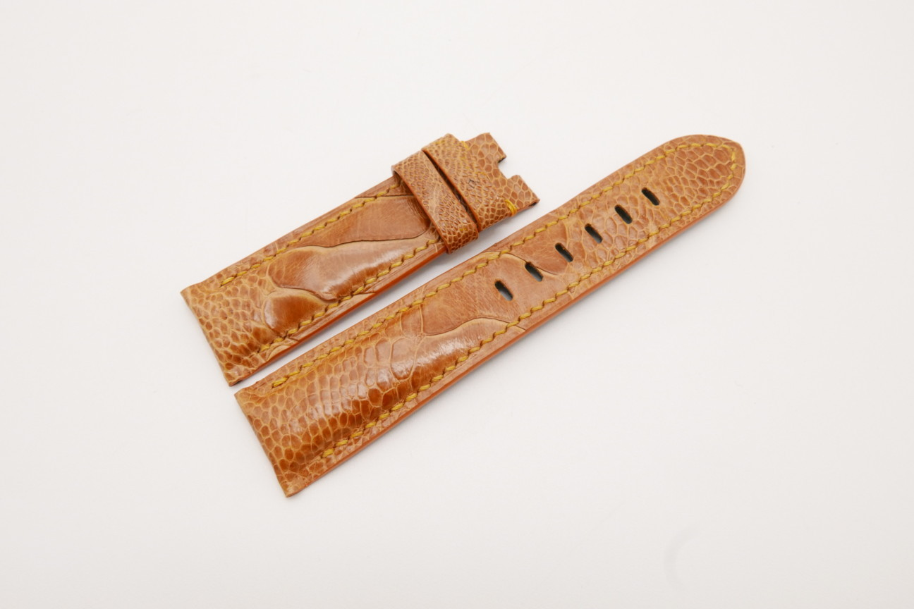 22mm/20mm Tan Brown Genuine OSTRICH Skin Leather Watch Strap for Panerai #WT3711