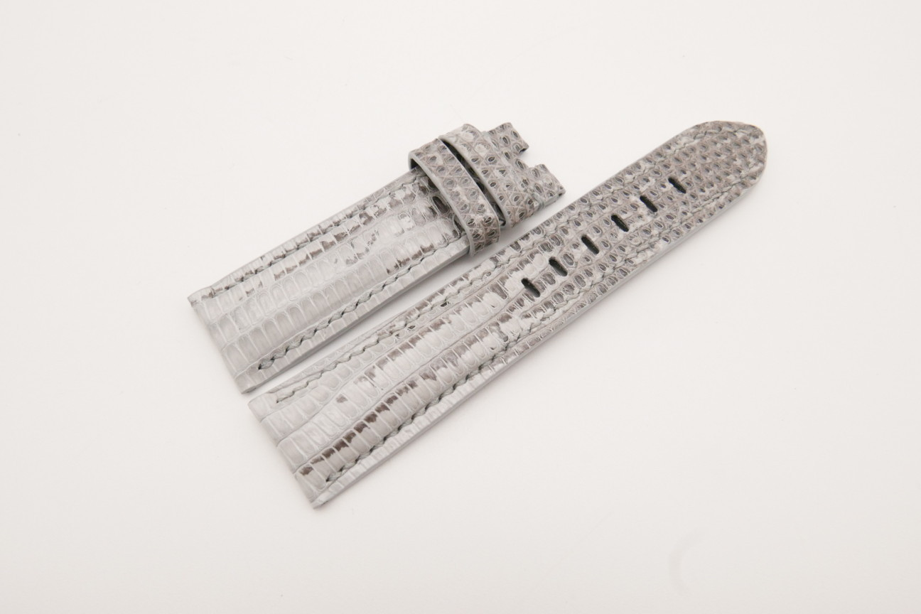 22mm/20mm White Genuine LIZARD Skin Leather Watch Strap for Panerai #WT3725