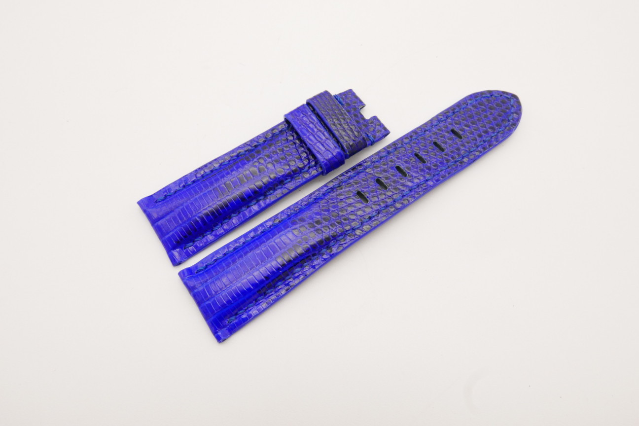 22mm/20mm Cobalt Blue Genuine LIZARD Skin Leather Watch Strap for Panerai #WT3729