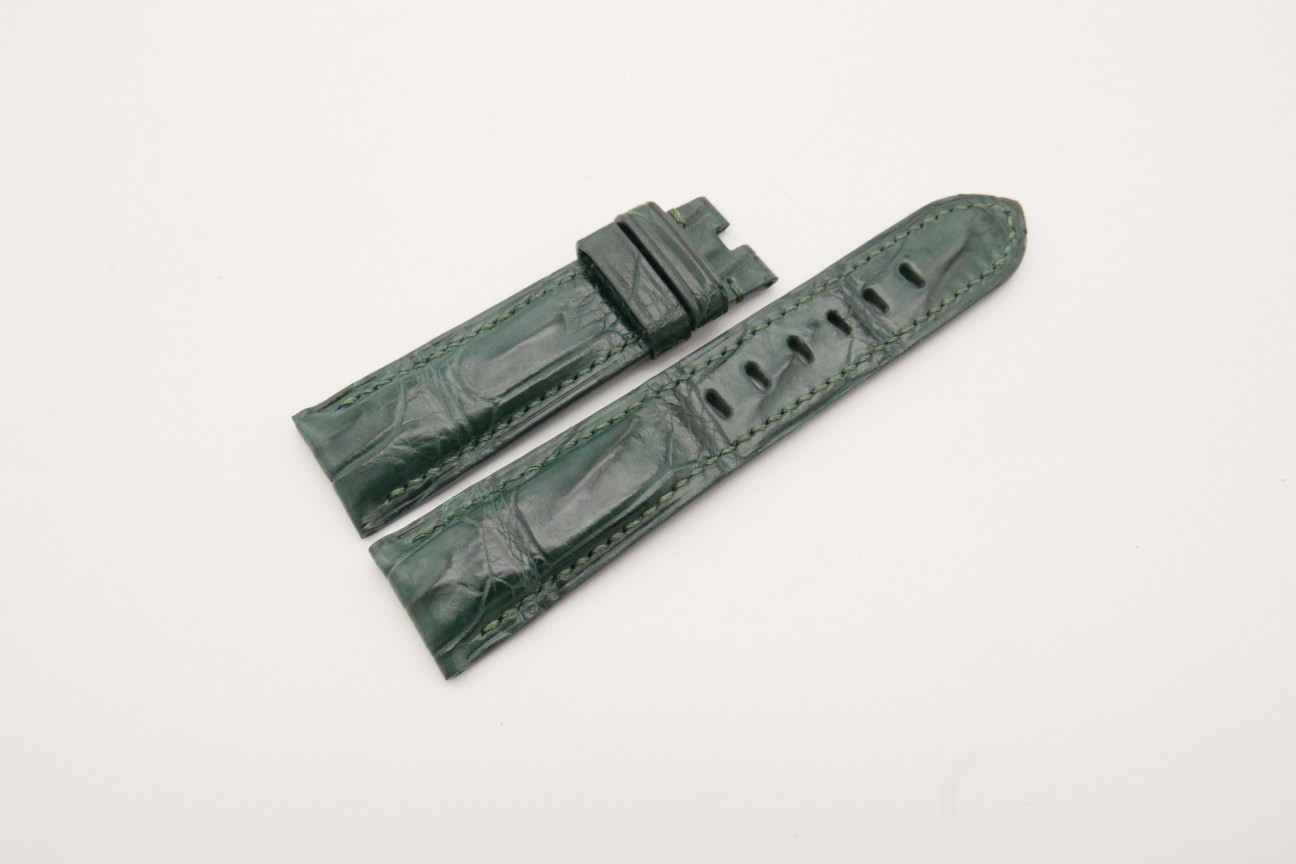 22mm/20mm Green Genuine CROCODILE Skin Leather Watch Strap for Panerai #WT3745