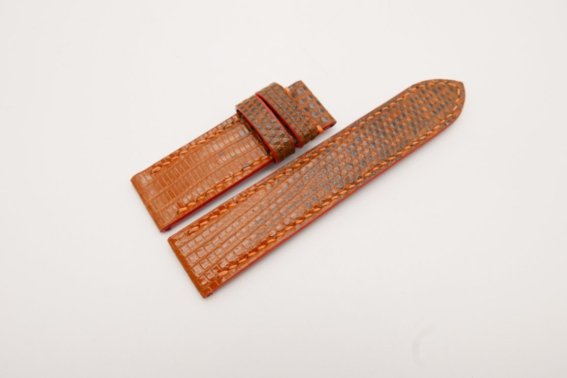 18mm/18mm Orange Genuine LIZARD Skin Leather Watch Strap #WT3850