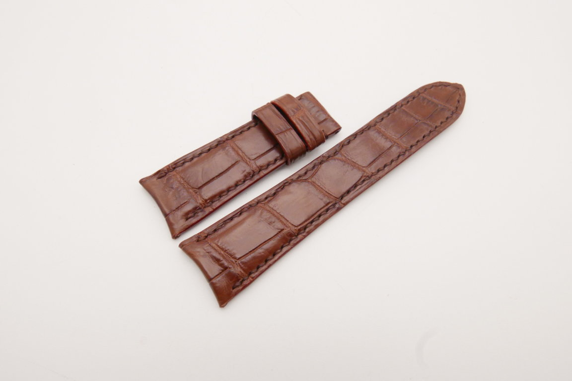 22mm/18mm Red Brown Genuine Crocodile Skin Leather Curved End Watch Strap For JLC #WT3755