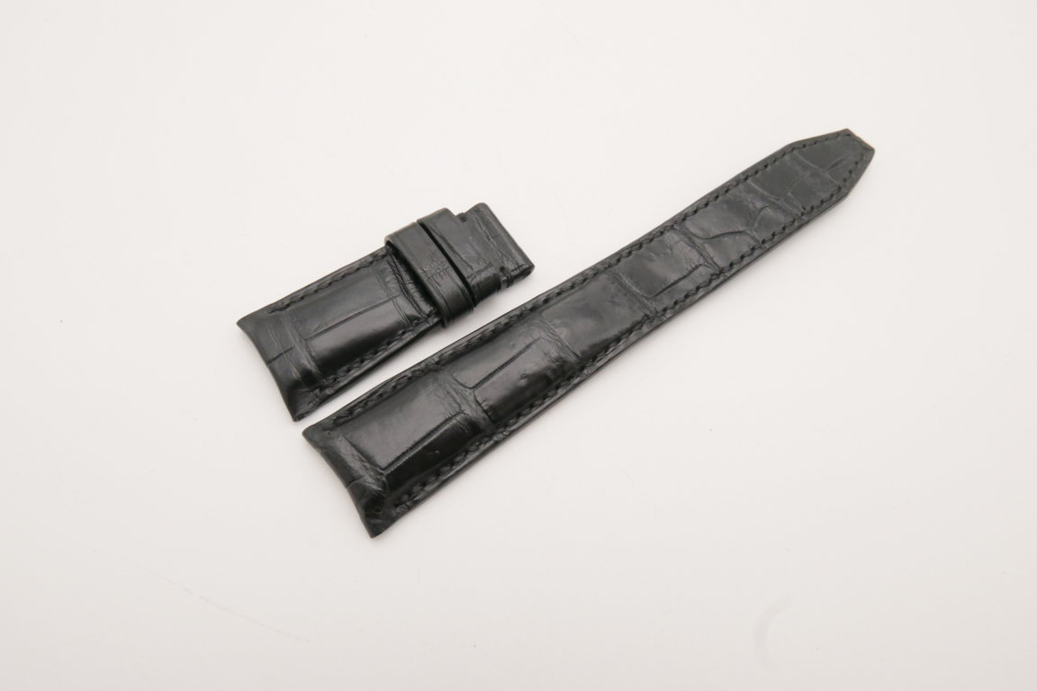 23mm/18mm Black Genuine Crocodile Skin Leather Curved End Watch Strap For IWC #WT3769
