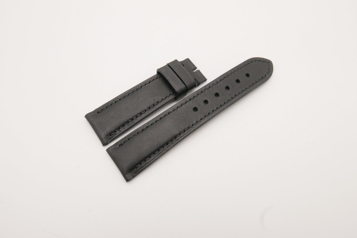 22mm/20mm Black Genuine Vegtan Skin Leather Watch Strap #WT3781
