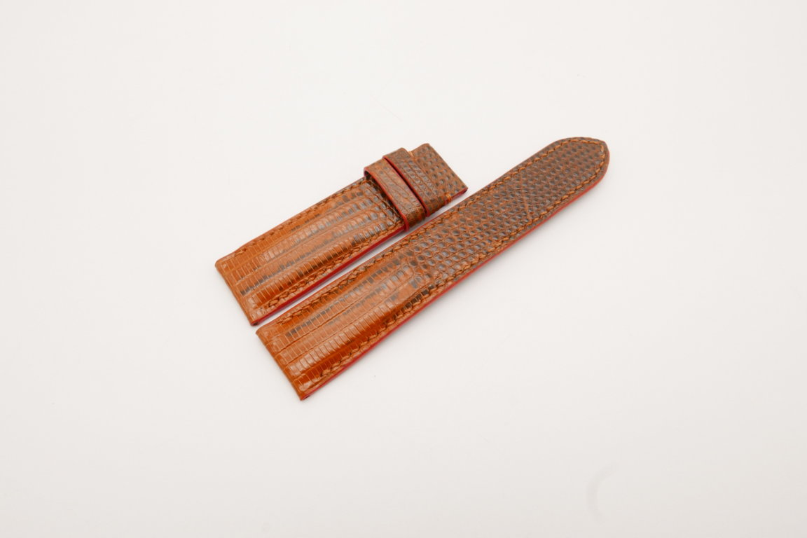 22mm/20mm Orange Genuine LIZARD Skin Leather Watch Strap #WT3788