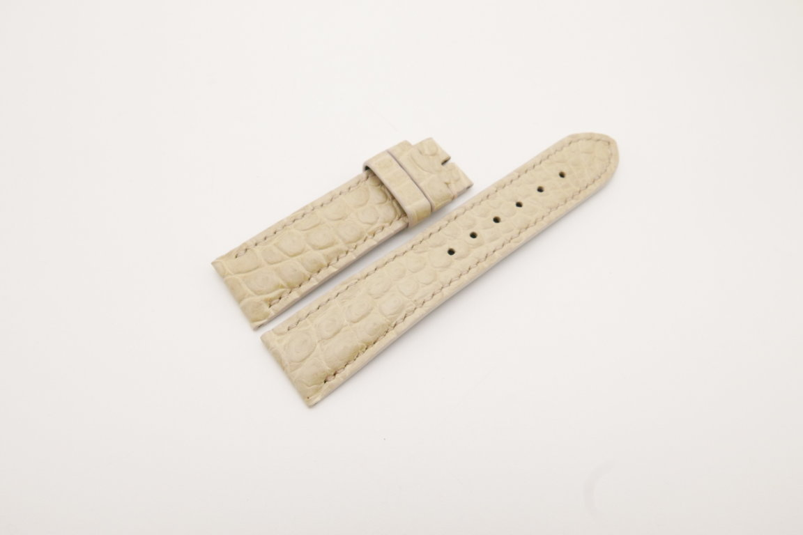 22mm/20mm Cream Genuine CROCODILE Skin Leather Watch Strap #WT3793
