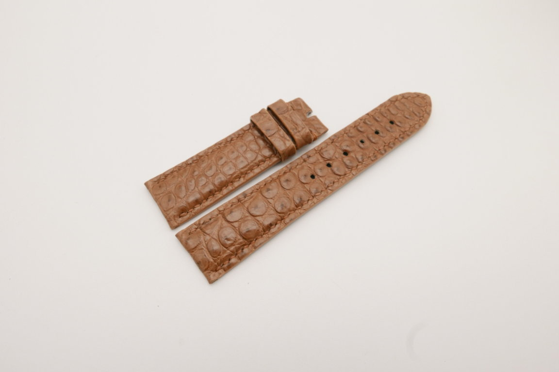 22mm/20mm Brown Genuine CROCODILE Skin Leather Watch Strap #WT3794