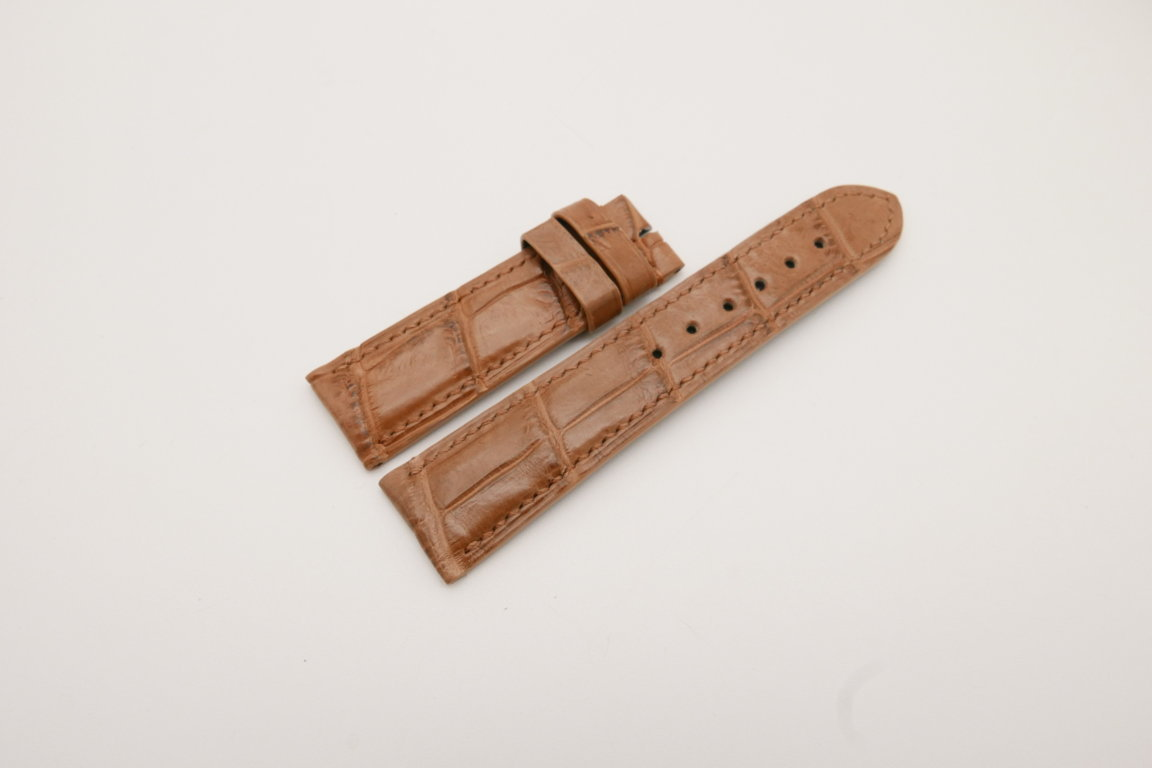 22mm/20mm Brown Genuine CROCODILE Skin Leather Watch Strap #WT3795