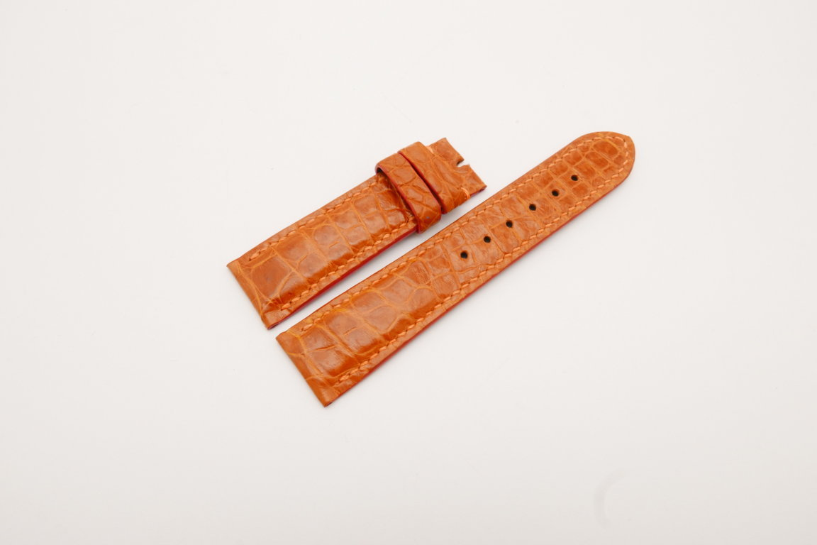 22mm/20mm Orange Genuine CROCODILE Skin Leather Watch Strap #WT3798