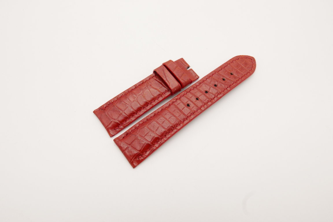 22mm/20mm Red Genuine CROCODILE Skin Leather Watch Strap #WT3799