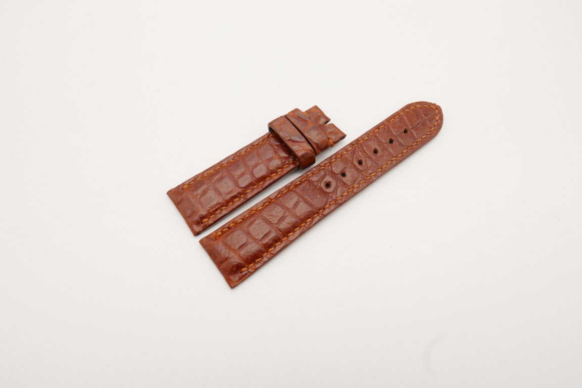 22mm/20mm Red Brown Genuine CROCODILE Skin Leather Watch Strap #WT3802