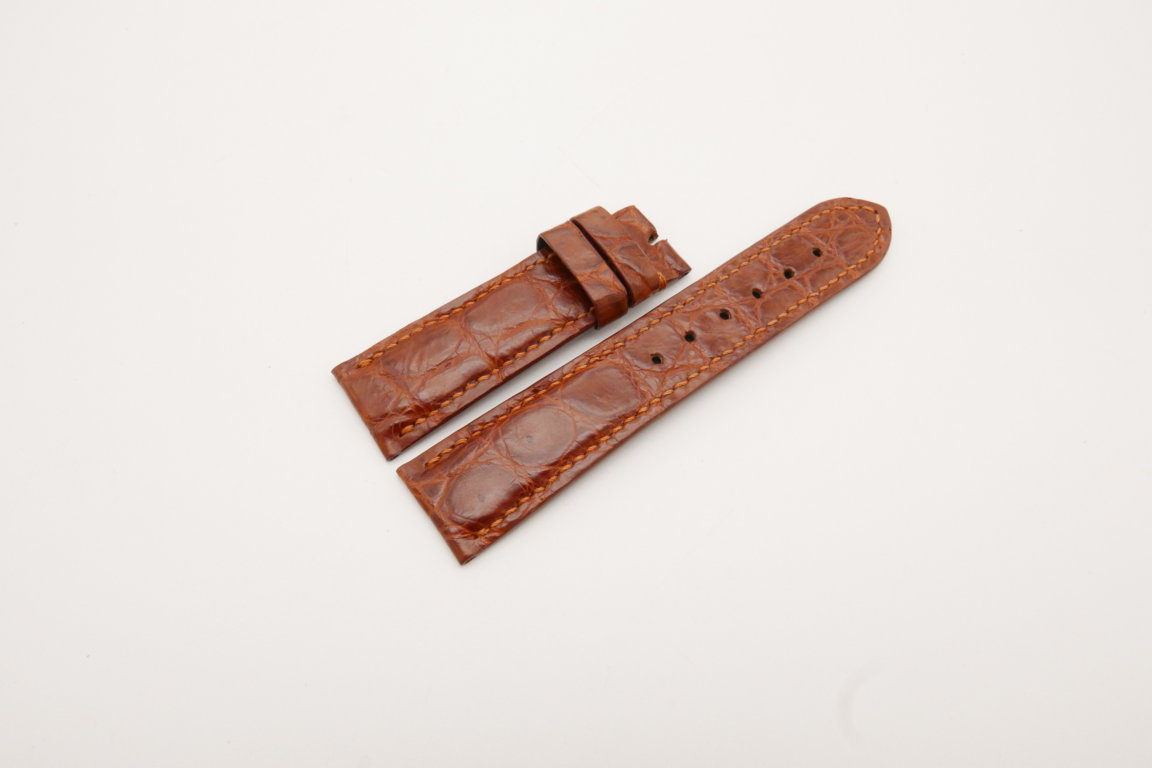 22mm/20mm Red Brown Genuine CROCODILE Skin Leather Watch Strap #WT3804