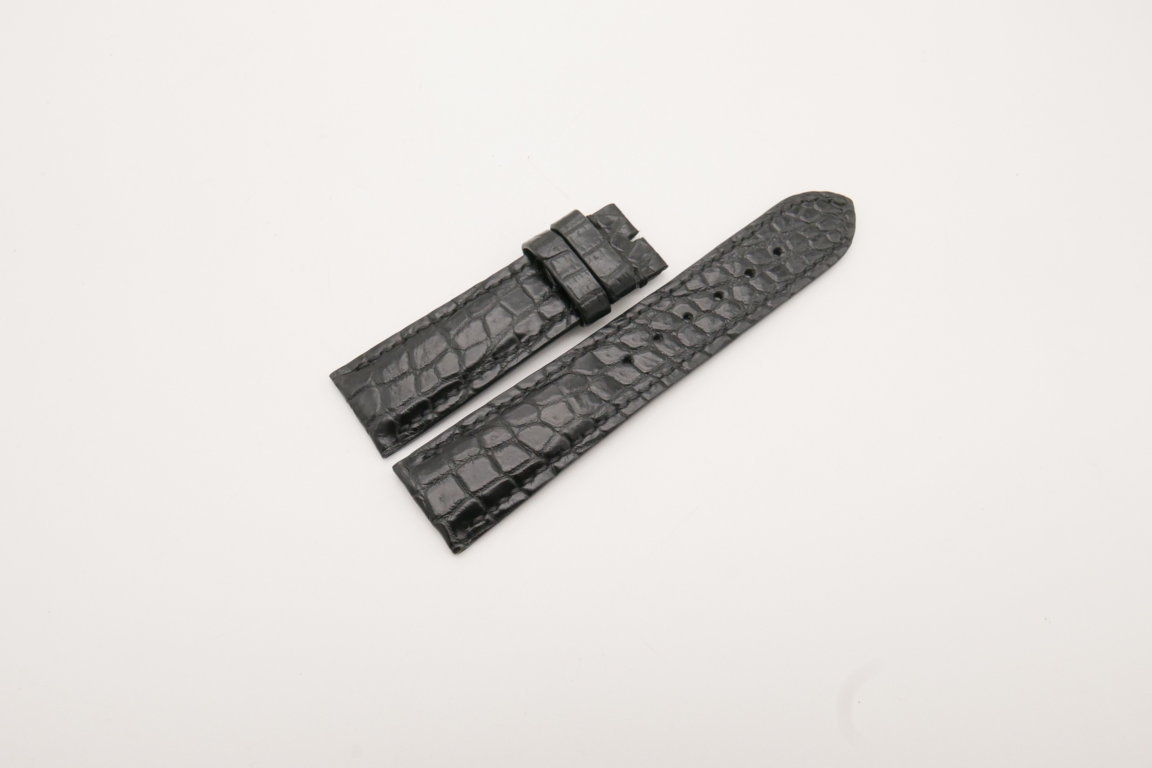 22mm/20mm Black Genuine CROCODILE Skin Leather Watch Strap #WT3817