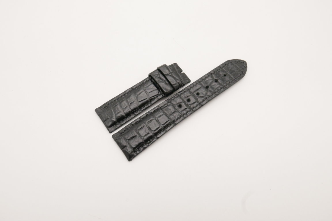 22mm/20mm Black Genuine CROCODILE Skin Leather Watch Strap #WT3819