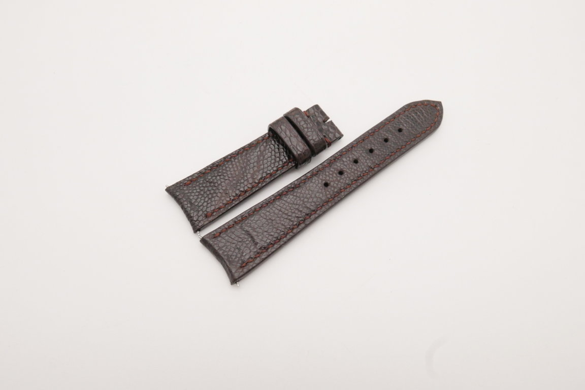 21mm/18mm Dark Brown Genuine OSTRICH Skin Leather Curved End Watch Strap For JLC #WT3820