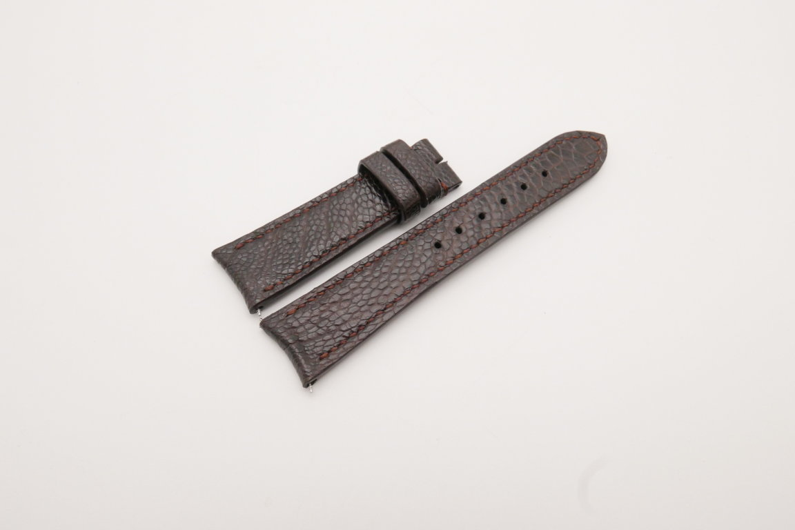 21mm/18mm Dark Brown Genuine OSTRICH Skin Leather Curved End Watch Strap For JLC #WT3821
