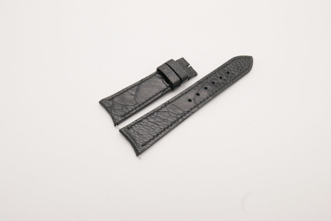 21mm/18mm Black Genuine OSTRICH Skin Leather Curved End Watch Strap For JLC #WT3824