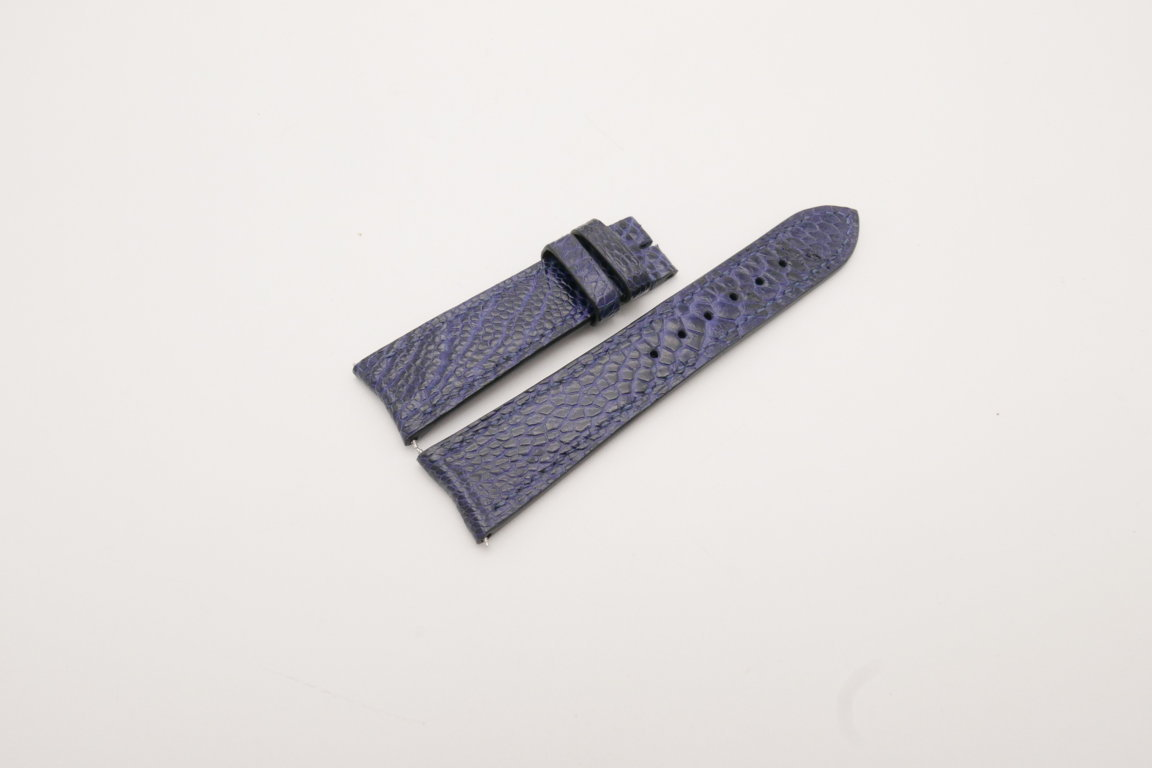 21mm/18mm Dark Navy Blue Genuine OSTRICH Skin Leather Curved End Watch Strap For JLC #WT3825