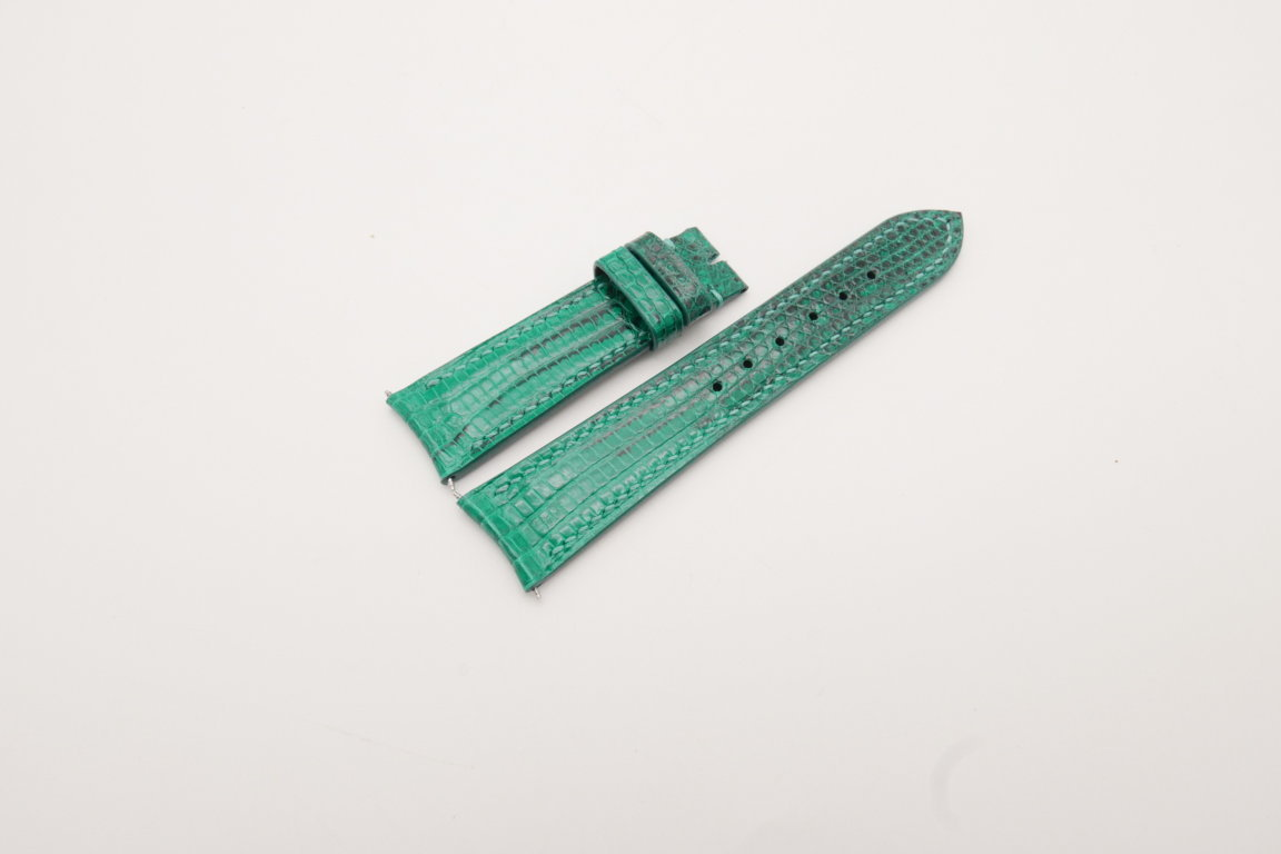 21mm/18mm Jade Green Genuine LIZARD Skin Leather Curved End Watch Strap For JLC #WT3827