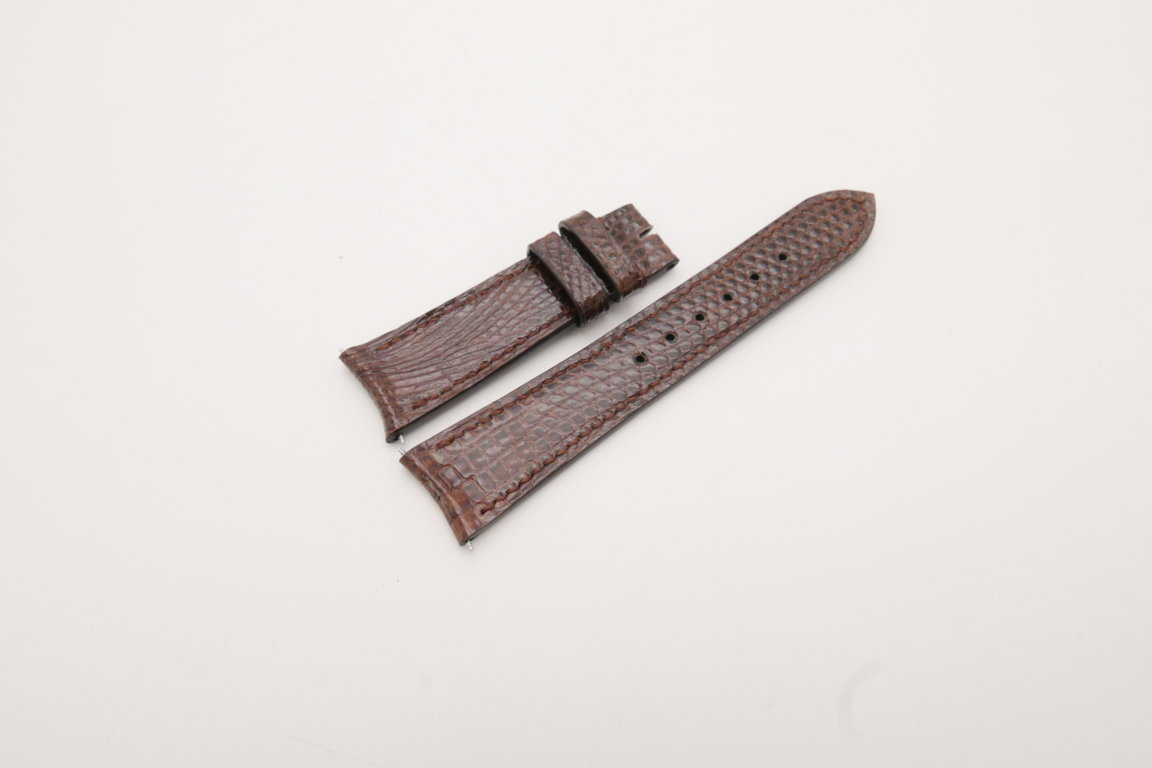 21mm/18mm Brown Genuine LIZARD Skin Leather Curved End Watch Strap For JLC #WT3829