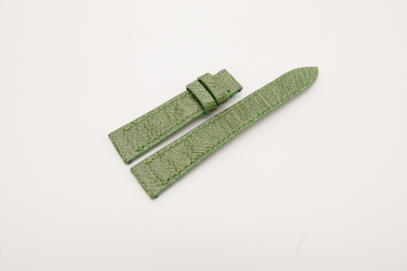 16mm/14mm Green Genuine Ostrich Skin Leather Watch Strap #WT3853