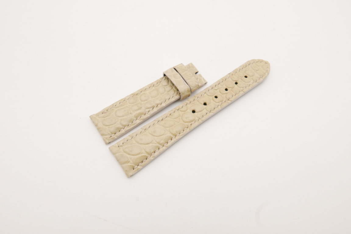 21mm/18mm Cream Genuine CROCODILE Skin Leather Watch Strap #WT3866
