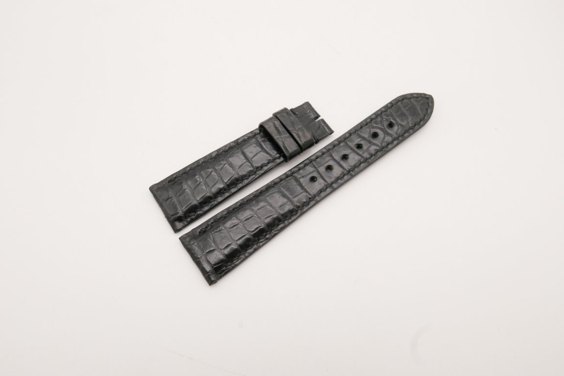 21mm/18mm Black Genuine CROCODILE Skin Leather Watch Strap #WT3872