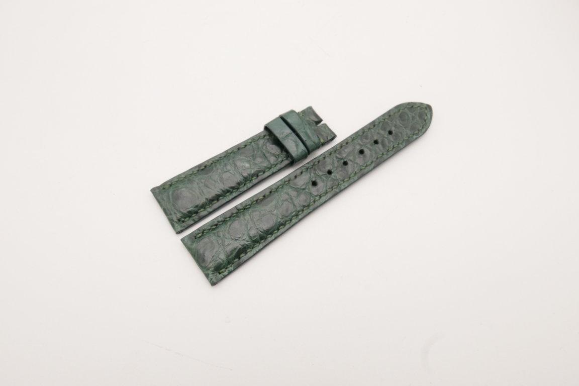 21mm/18mm Dark Green Genuine CROCODILE Skin Leather Watch Strap #WT3881