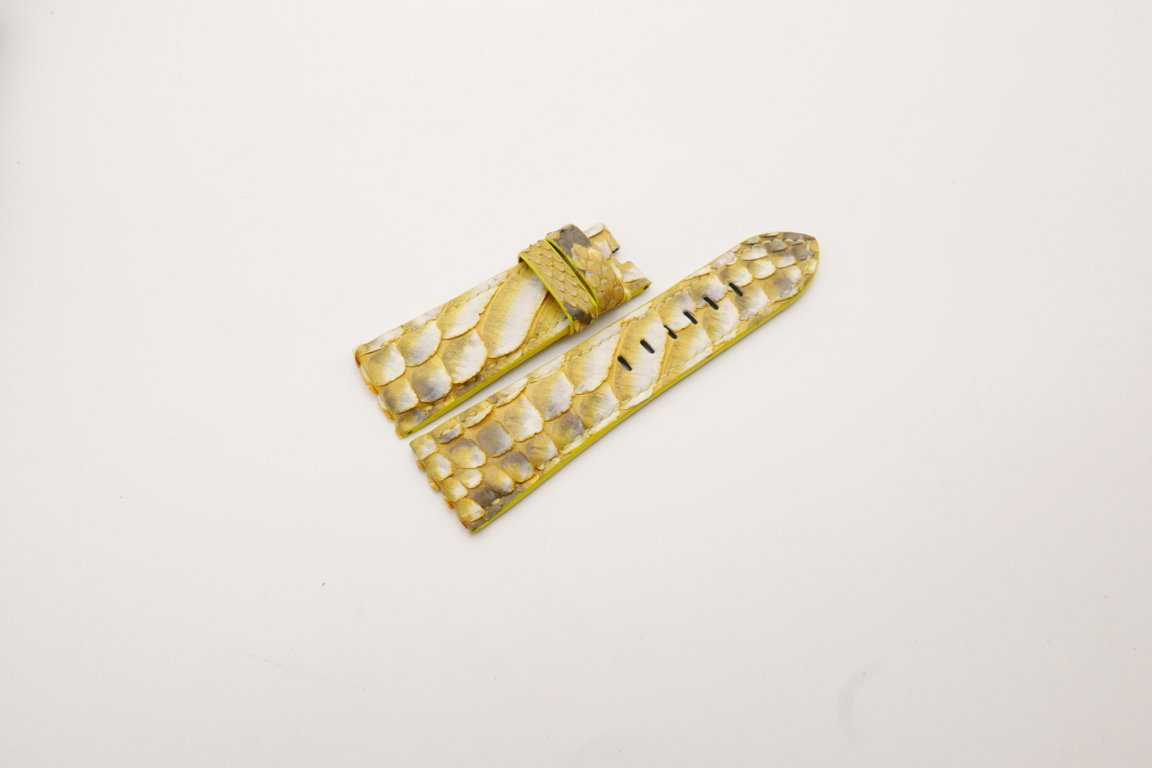 26mm/22mm Yellow Genuine Python Skin Leather Watch Strap for PANERAI #WT3938