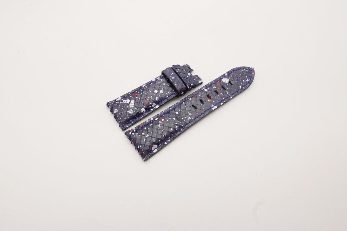 26mm/22mm Dark Navy Blue Genuine Python Skin Leather Watch Strap for PANERAI #WT3941