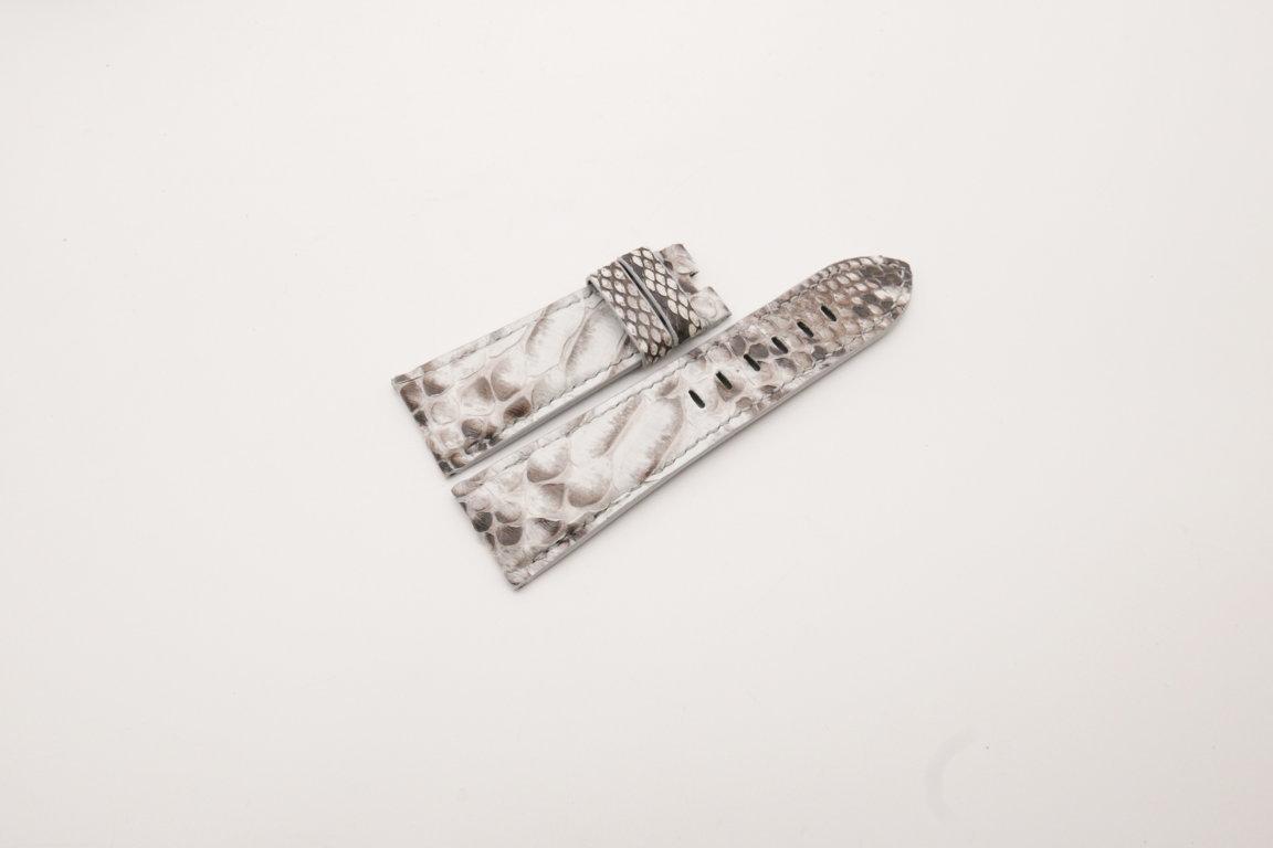 26mm/22mm White Black Genuine Python Skin Leather Watch Strap for PANERAI #WT3942