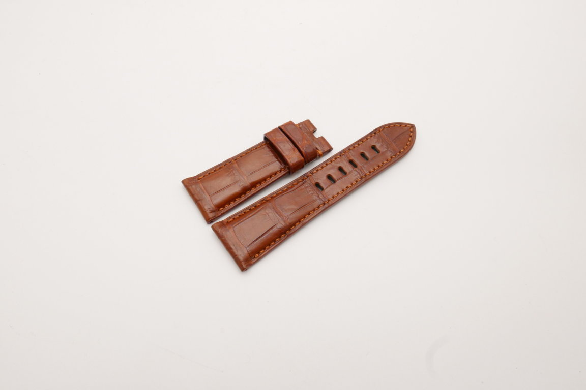 26mm/22mm Red Brown Genuine Crocodile Skin Leather Watch Strap for PANERAI #WT3967