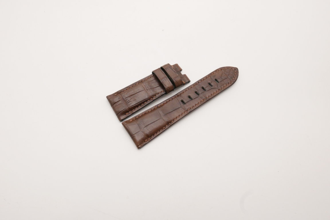 26mm/22mm Brown Genuine Crocodile Skin Leather Watch Strap for PANERAI #WT3972