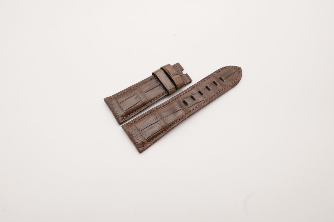 26mm/22mm Brown Genuine Crocodile Skin Leather Watch Strap for PANERAI #WT3973