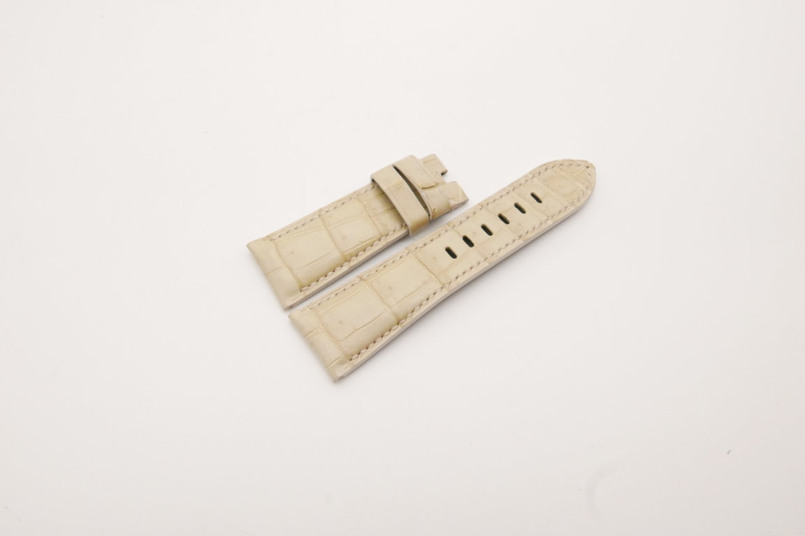 26mm/22mm Cream Genuine Crocodile Skin Leather Watch Strap for PANERAI #WT3978