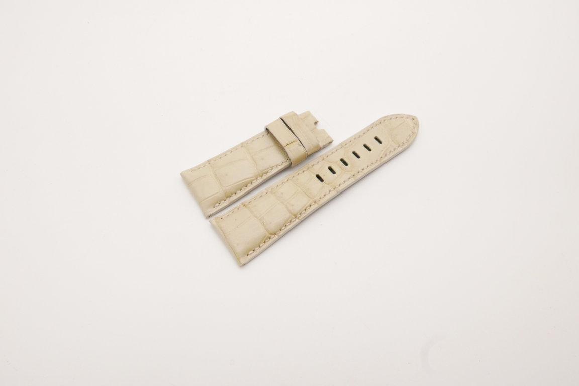 26mm/22mm Cream Genuine Crocodile Skin Leather Watch Strap for PANERAI #WT3979