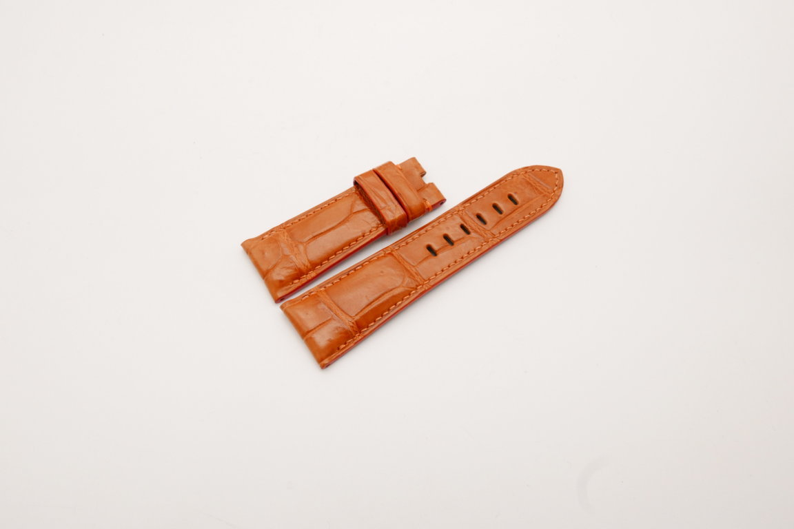 26mm/22mm Orange Genuine Crocodile Skin Leather Watch Strap for PANERAI #WT3980