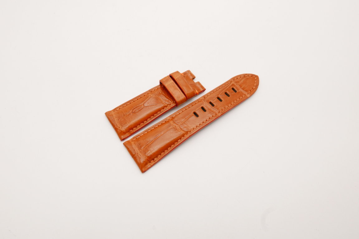 26mm/22mm Orange Genuine Crocodile Skin Leather Watch Strap for PANERAI #WT3981