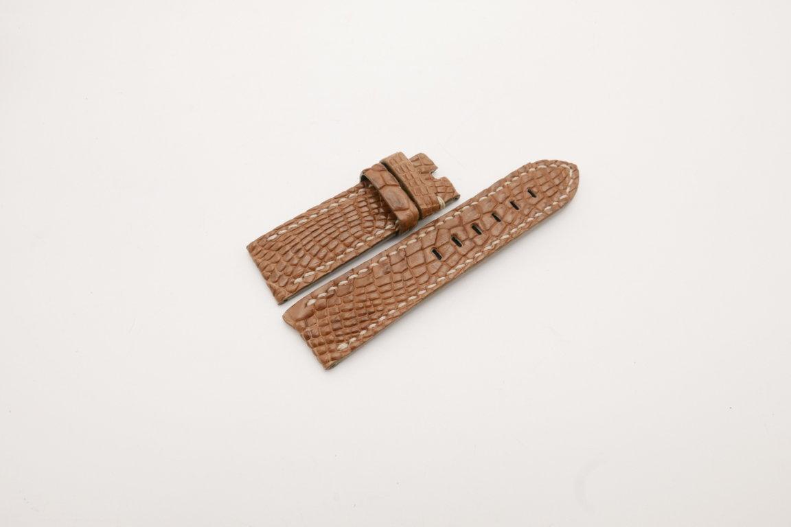 24mm/22mm Coffee Genuine CROCODILE Skin Leather Watch Strap for Panerai #WT3991