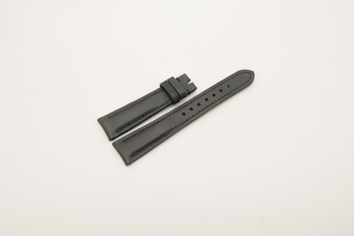 19mm/16mm Black Genuine Vegtan CALF Skin Leather Watch Strap #WT4011