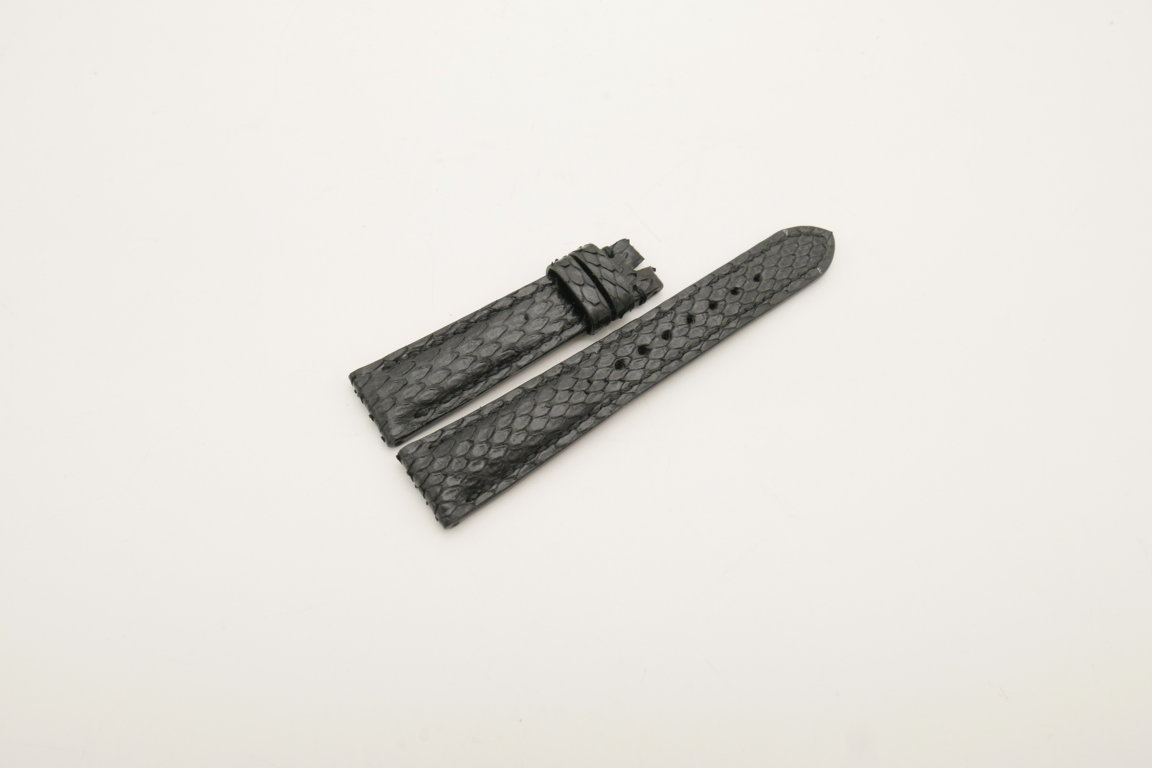19mm/16mm Black Genuine PYTHON Skin Leather Watch Strap #WT4018