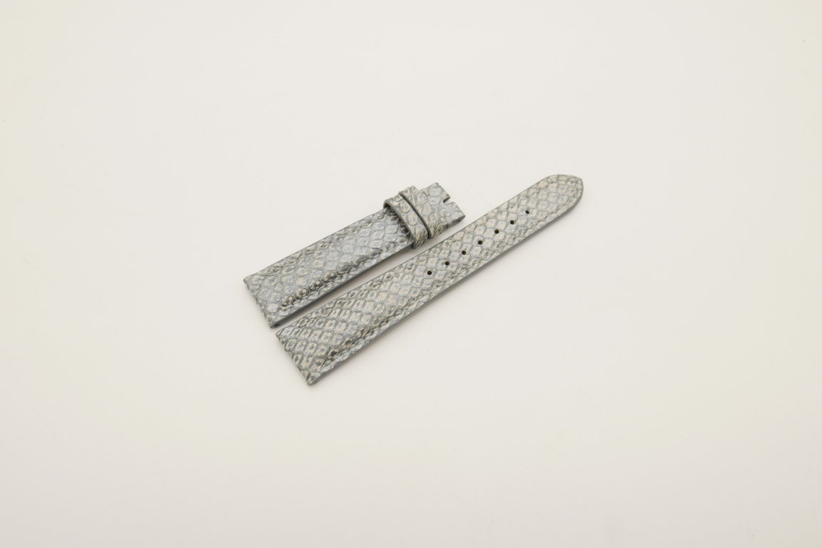 19mm/16mm Silver Genuine PYTHON Skin Leather Watch Strap #WT4024